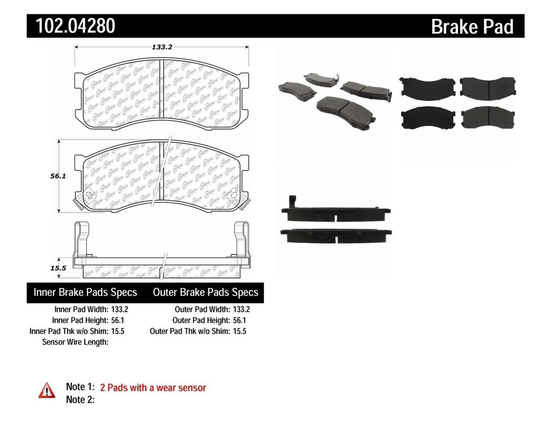 C-TEK BY CENTRIC - C-TEK Metallic Brake Pads (Front) - CTK 102.04280