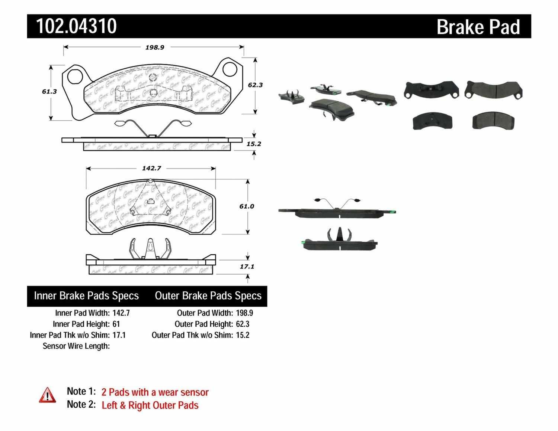 C-TEK BY CENTRIC - C-TEK Semi-Metallic Disc Brake Pad Sets (Front) - CTK 102.04310