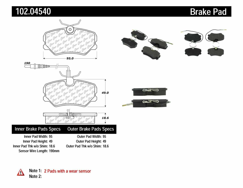 C-TEK BY CENTRIC - C-TEK Metallic Brake Pads-Preferred (Front) - CTK 102.04540