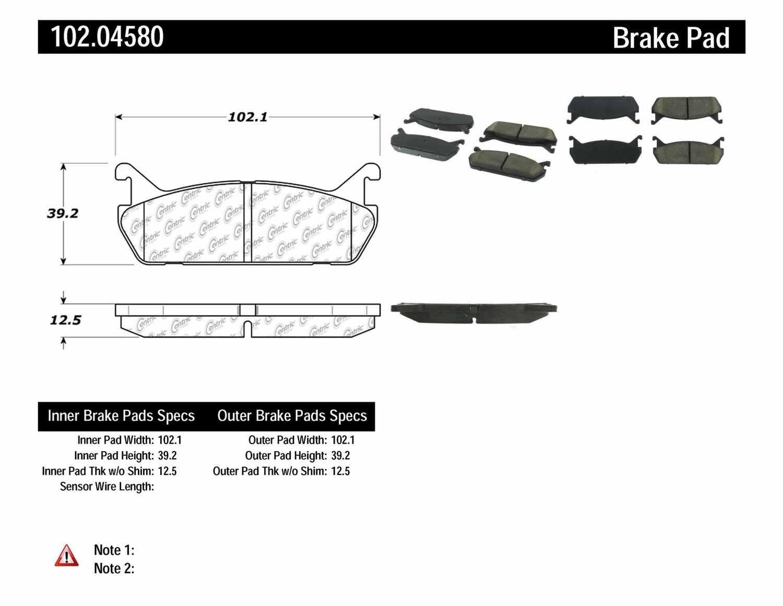 C-TEK BY CENTRIC - C-TEK Metallic Brake Pads (Rear) - CTK 102.04580