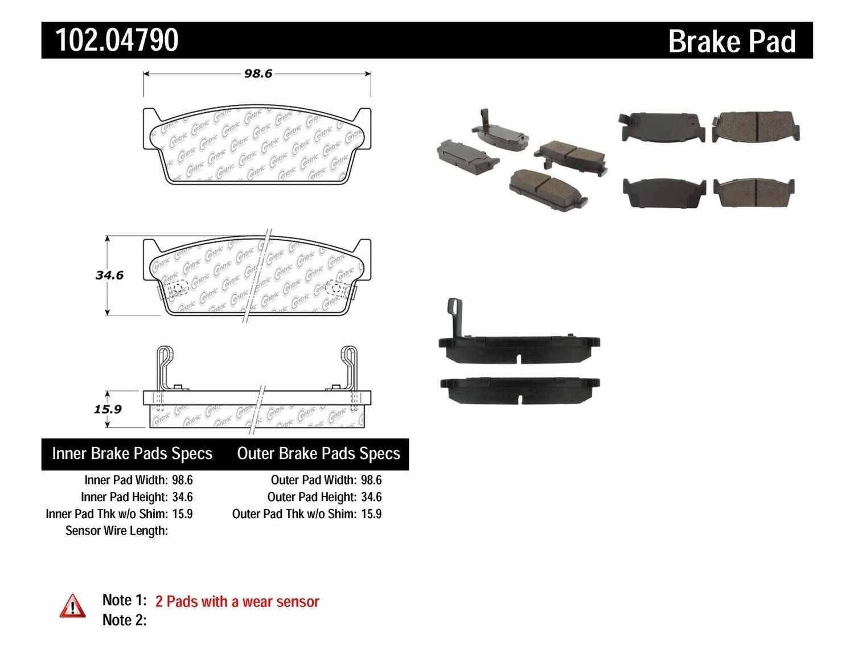 C-TEK BY CENTRIC - C-TEK Metallic Brake Pads (Rear) - CTK 102.04790