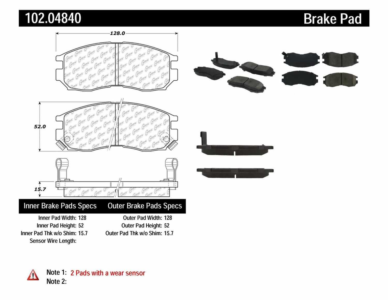 C-TEK BY CENTRIC - C-TEK Semi-Metallic Disc Brake Pad Sets (Front) - CTK 102.04840