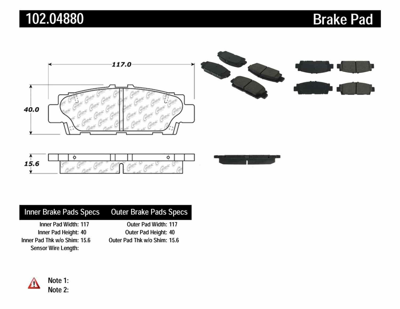 C-TEK BY CENTRIC - C-TEK Semi-Metallic Disc Brake Pad Sets (Rear) - CTK 102.04880