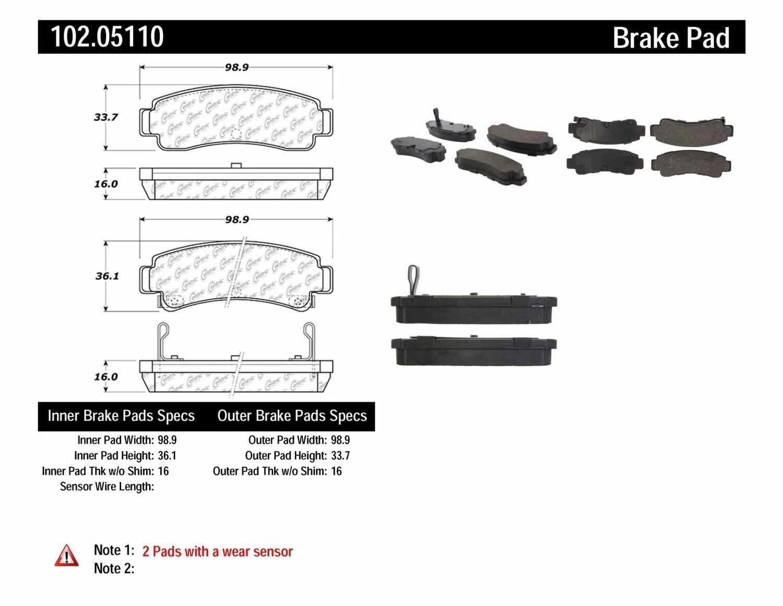 C-TEK BY CENTRIC - C-TEK Metallic Brake Pads (Rear) - CTK 102.05110