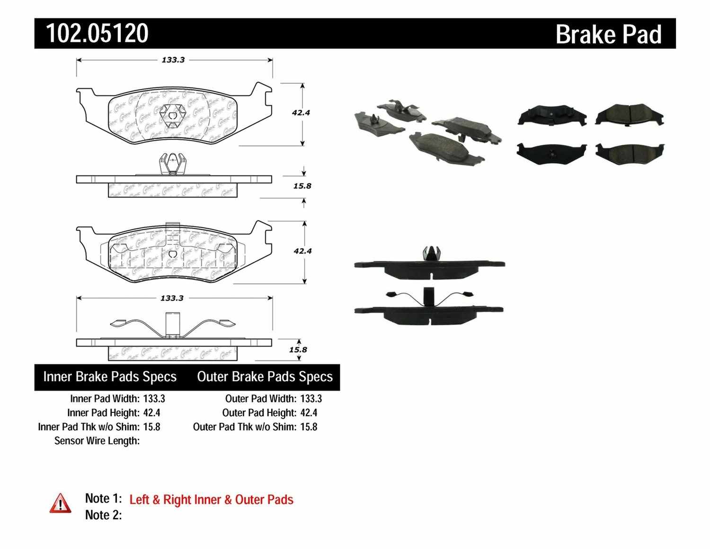 C-TEK BY CENTRIC - C-TEK Metallic Brake Pads (Rear) - CTK 102.05120