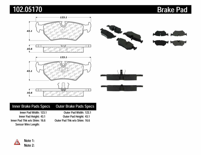 C-TEK BY CENTRIC - C-TEK Metallic Brake Pads - CTK 102.05170