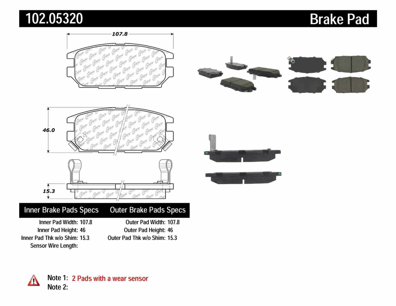C-TEK BY CENTRIC - C-TEK Semi-Metallic Disc Brake Pad Sets (Rear) - CTK 102.05320