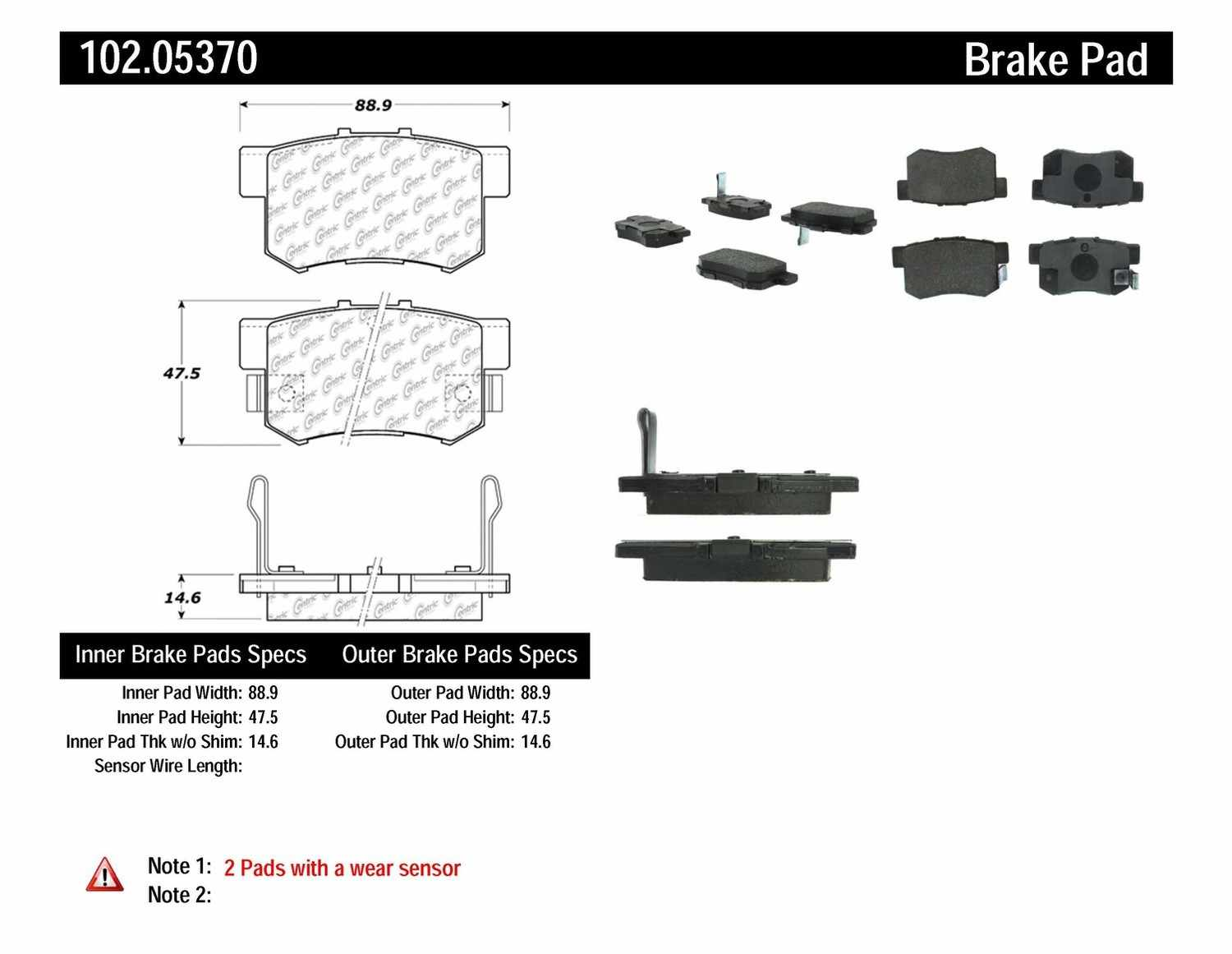 C-TEK BY CENTRIC - C-TEK Metallic Brake Pads (Rear) - CTK 102.05370