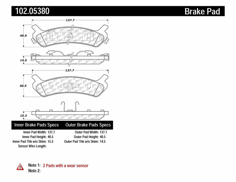 C-TEK BY CENTRIC - C-TEK Metallic Brake Pads-Preferred (Rear) - CTK 102.05380