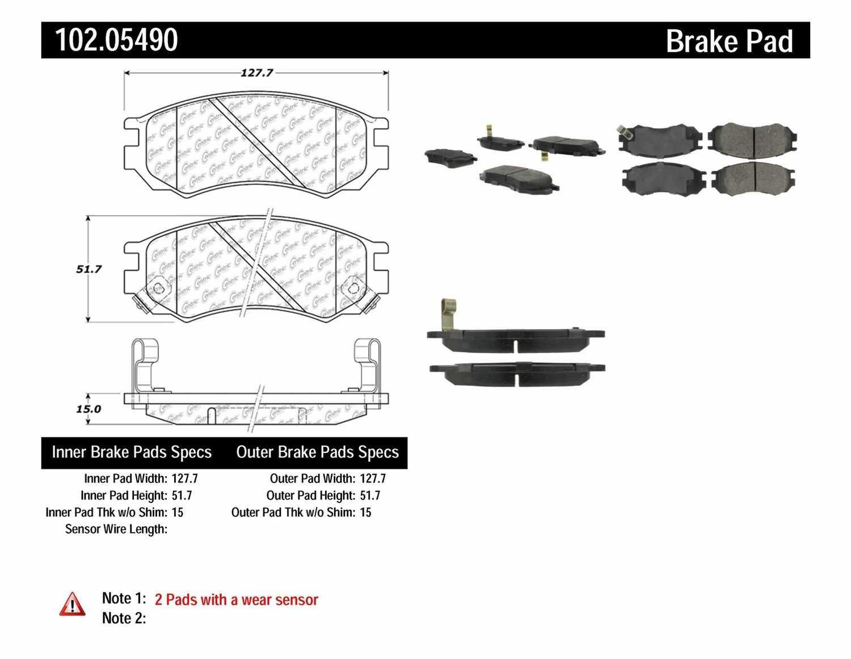 C-TEK BY CENTRIC - C-TEK Semi-Metallic Disc Brake Pad Sets (Front) - CTK 102.05490
