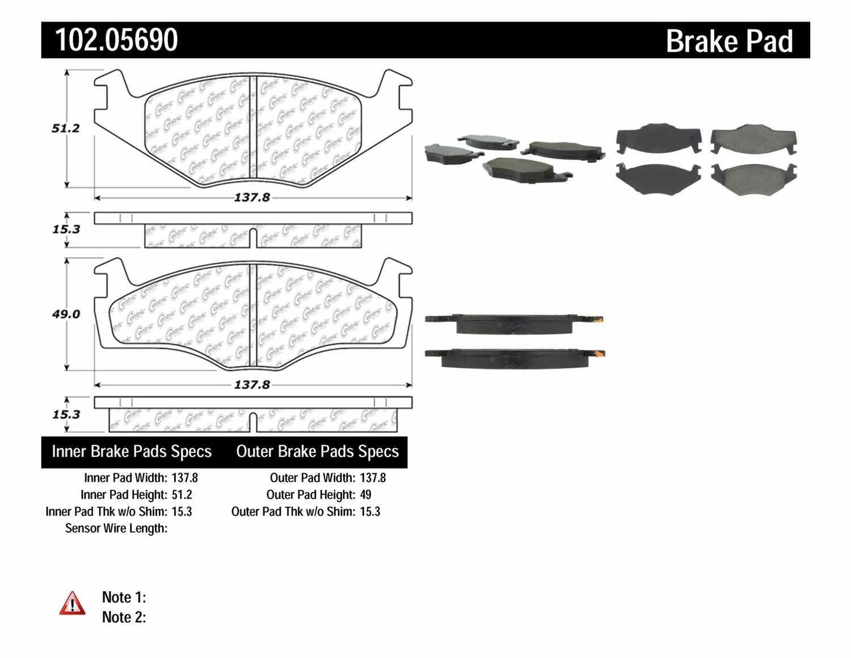 C-TEK BY CENTRIC - C-TEK Metallic Brake Pads (Front) - CTK 102.05690