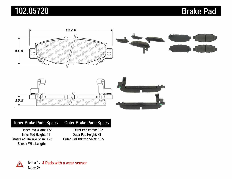 C-TEK BY CENTRIC - C-TEK Metallic Brake Pads (Rear) - CTK 102.05720