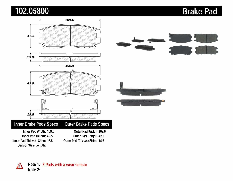 C-TEK BY CENTRIC - C-TEK Semi-Metallic Disc Brake Pad Sets (Rear) - CTK 102.05800