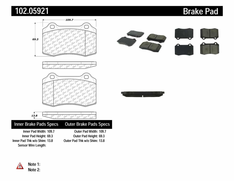C-TEK BY CENTRIC - C-TEK Metallic Brake Pads - CTK 102.05921