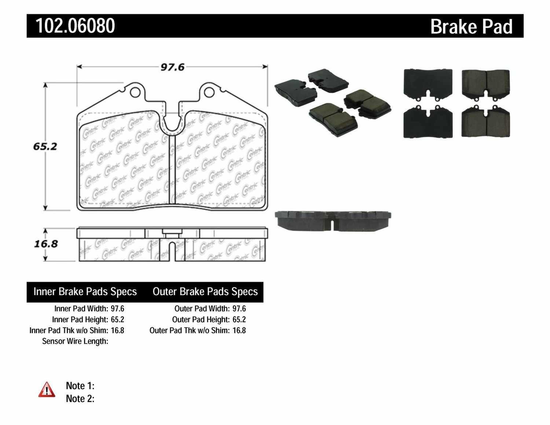 C-TEK BY CENTRIC - C-TEK Metallic Brake Pads - CTK 102.06080