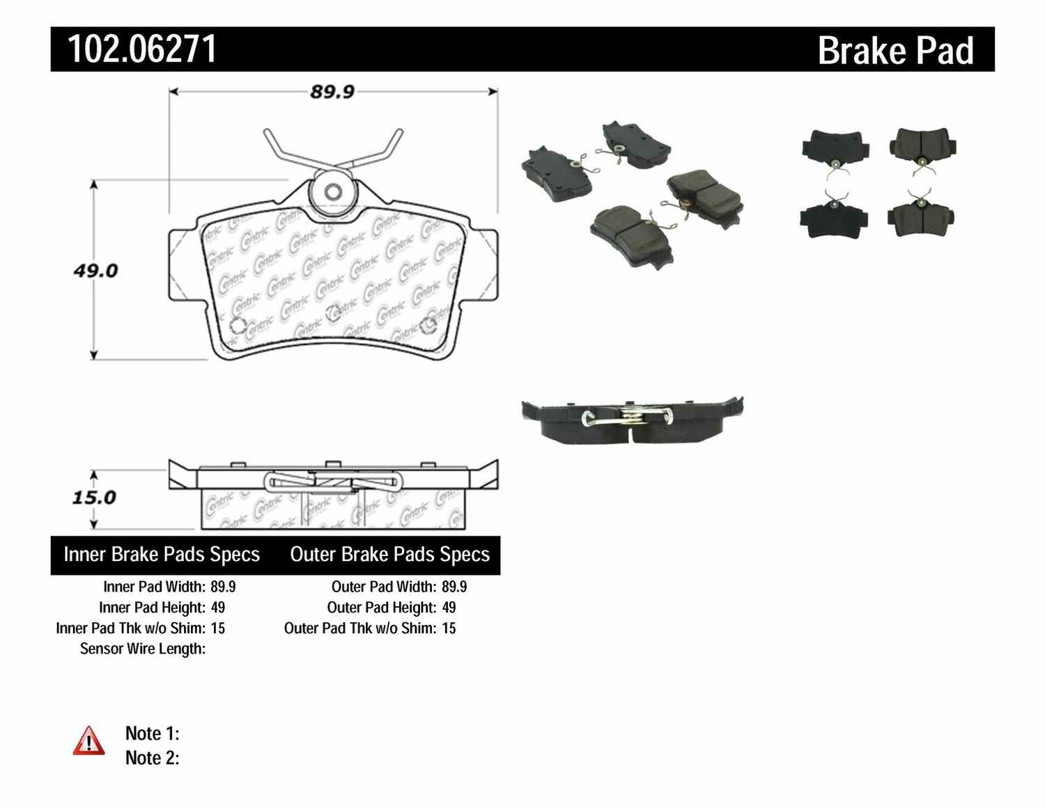 C-TEK BY CENTRIC - C-TEK Metallic Brake Pads (Rear) - CTK 102.06271