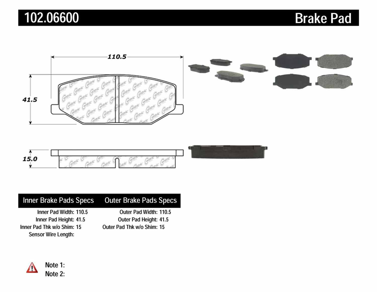 C-TEK BY CENTRIC - C-TEK Metallic Brake Pads-Preferred (Front) - CTK 102.06600