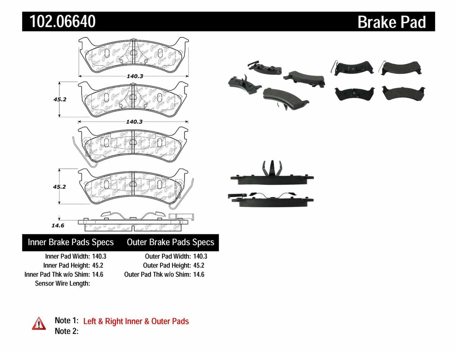 C-TEK BY CENTRIC - C-TEK Metallic Brake Pads (Rear) - CTK 102.06640