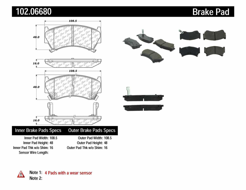 C-TEK BY CENTRIC - C-TEK Semi-Metallic Disc Brake Pad Sets (Front) - CTK 102.06680