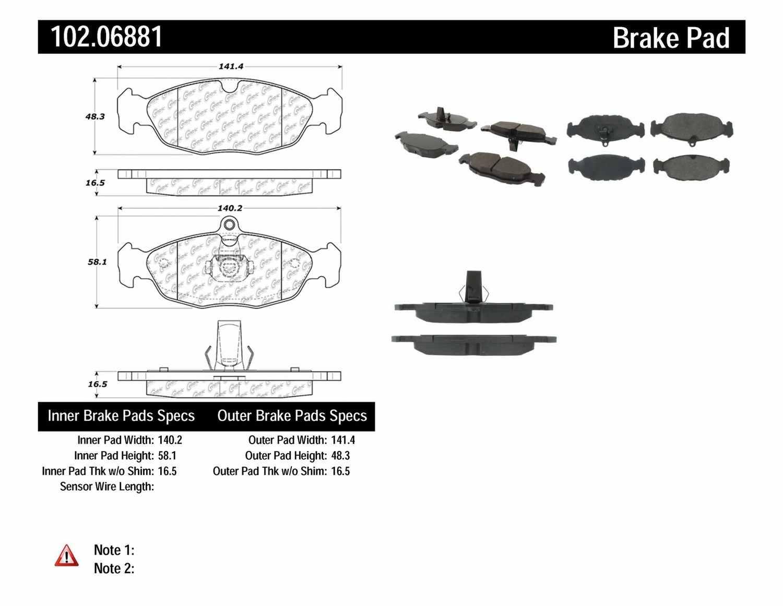 C-TEK BY CENTRIC - C-TEK Metallic Brake Pads - CTK 102.06881