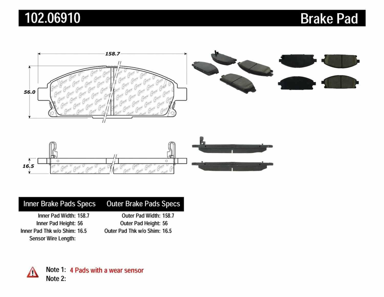 C-TEK BY CENTRIC - C-TEK Metallic Brake Pads (Front) - CTK 102.06910