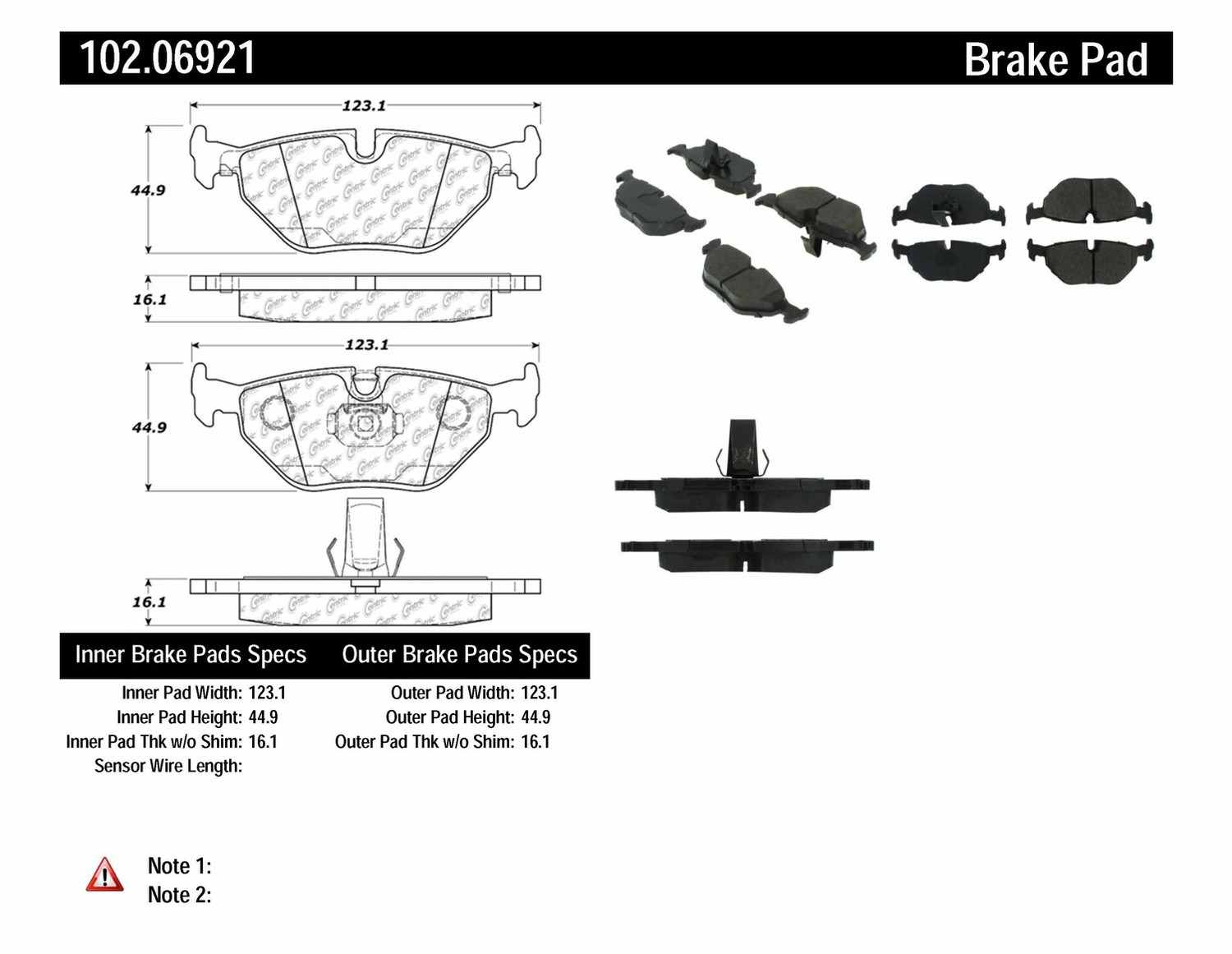 C-TEK BY CENTRIC - C-TEK Metallic Brake Pads (Rear) - CTK 102.06921