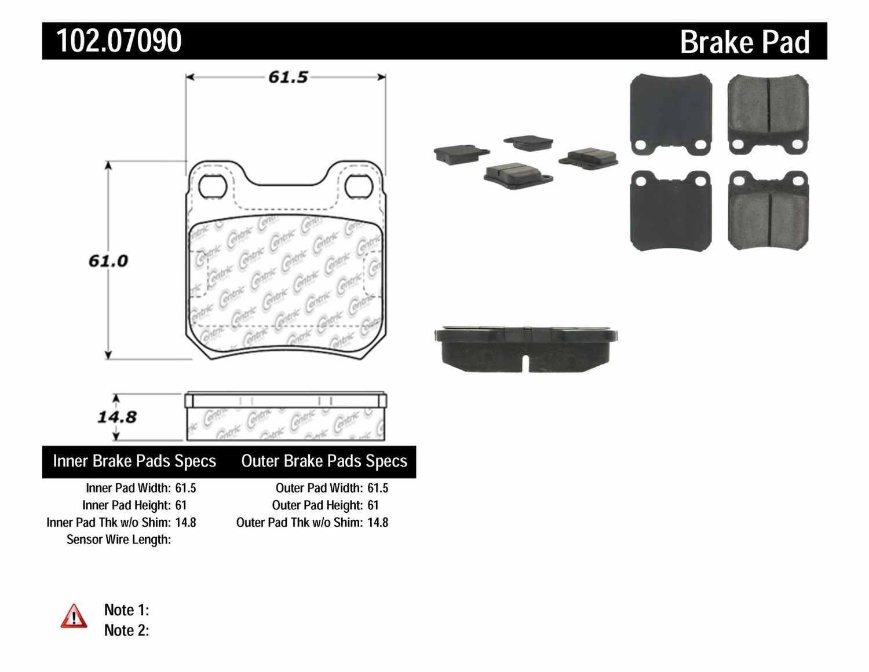 C-TEK BY CENTRIC - C-TEK Semi-Metallic Disc Brake Pad Sets (Rear) - CTK 102.07090