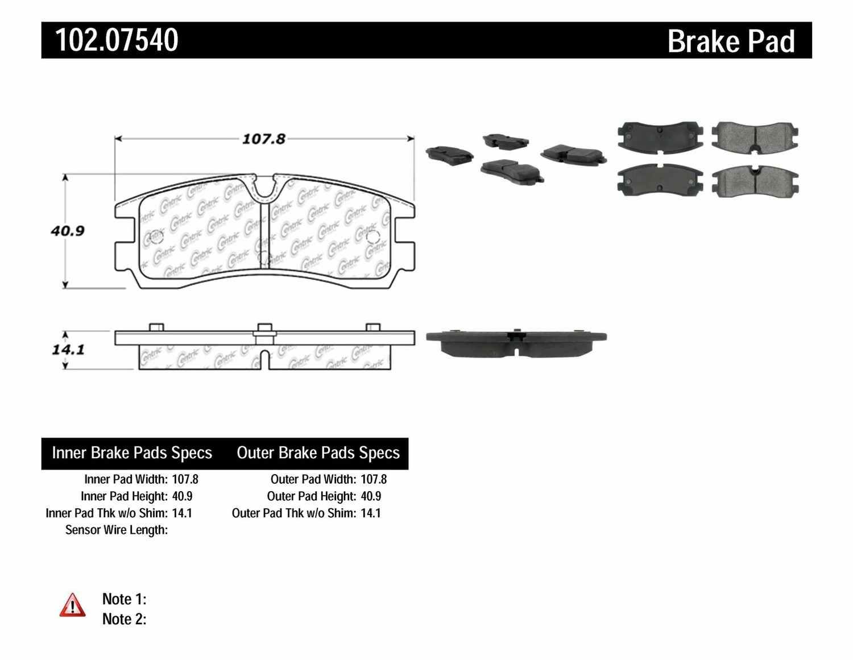 C-TEK BY CENTRIC - C-TEK Metallic Brake Pads (Rear) - CTK 102.07540
