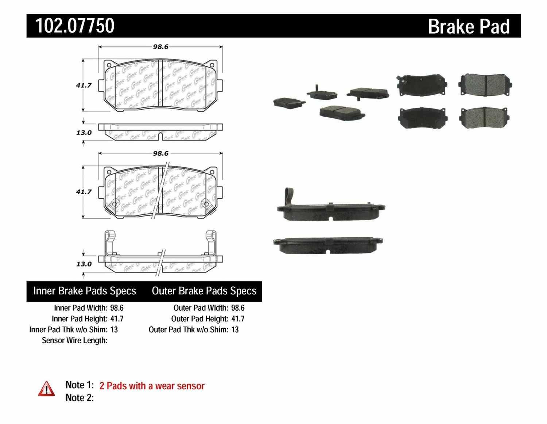 C-TEK BY CENTRIC - C-TEK Metallic Brake Pads-Preferred - CTK 102.07750