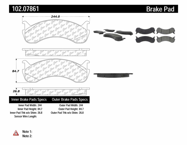 C-TEK BY CENTRIC - C-TEK Metallic Brake Pads - CTK 102.07861
