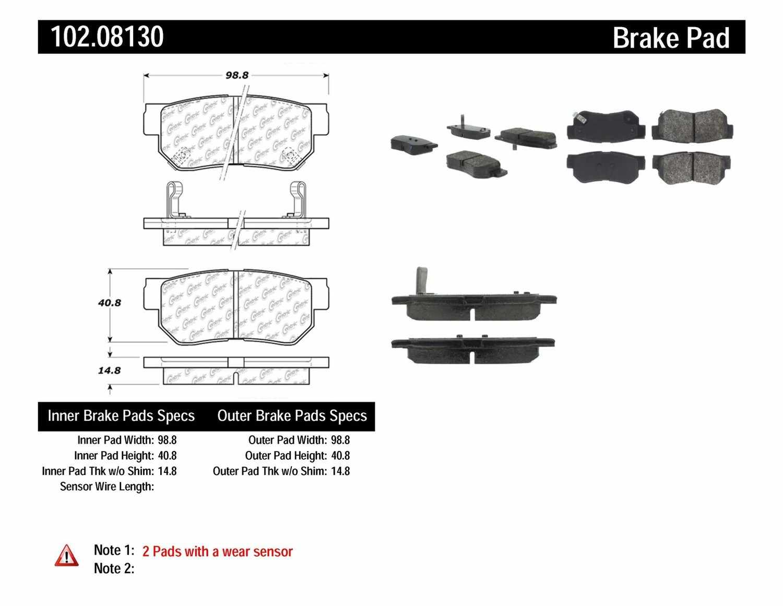 C-TEK BY CENTRIC - C-TEK Semi-Metallic Disc Brake Pad Sets (Rear) - CTK 102.08130