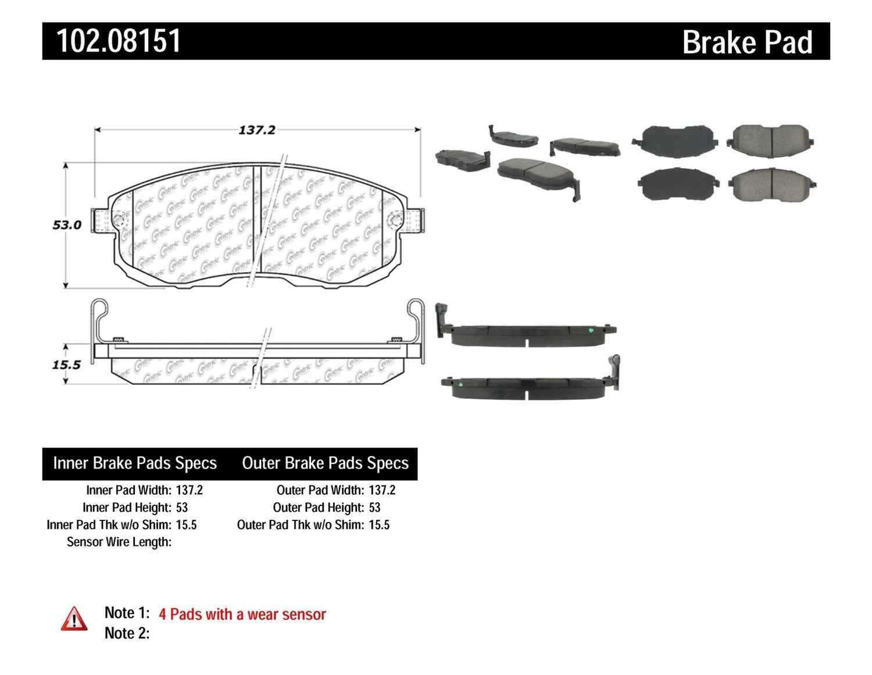 C-TEK BY CENTRIC - C-TEK Metallic Brake Pads - CTK 102.08151
