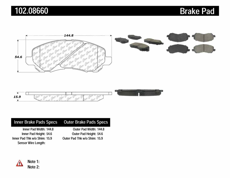 C-TEK BY CENTRIC - C-TEK Semi-Metallic Disc Brake Pad Sets (Front) - CTK 102.08660