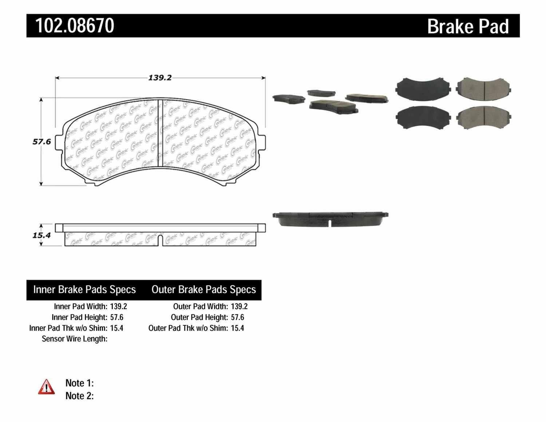 C-TEK BY CENTRIC - C-TEK Semi-Metallic Disc Brake Pad Sets (Front) - CTK 102.08670