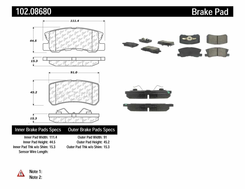 C-TEK BY CENTRIC - C-TEK Semi-Metallic Disc Brake Pad Sets (Rear) - CTK 102.08680