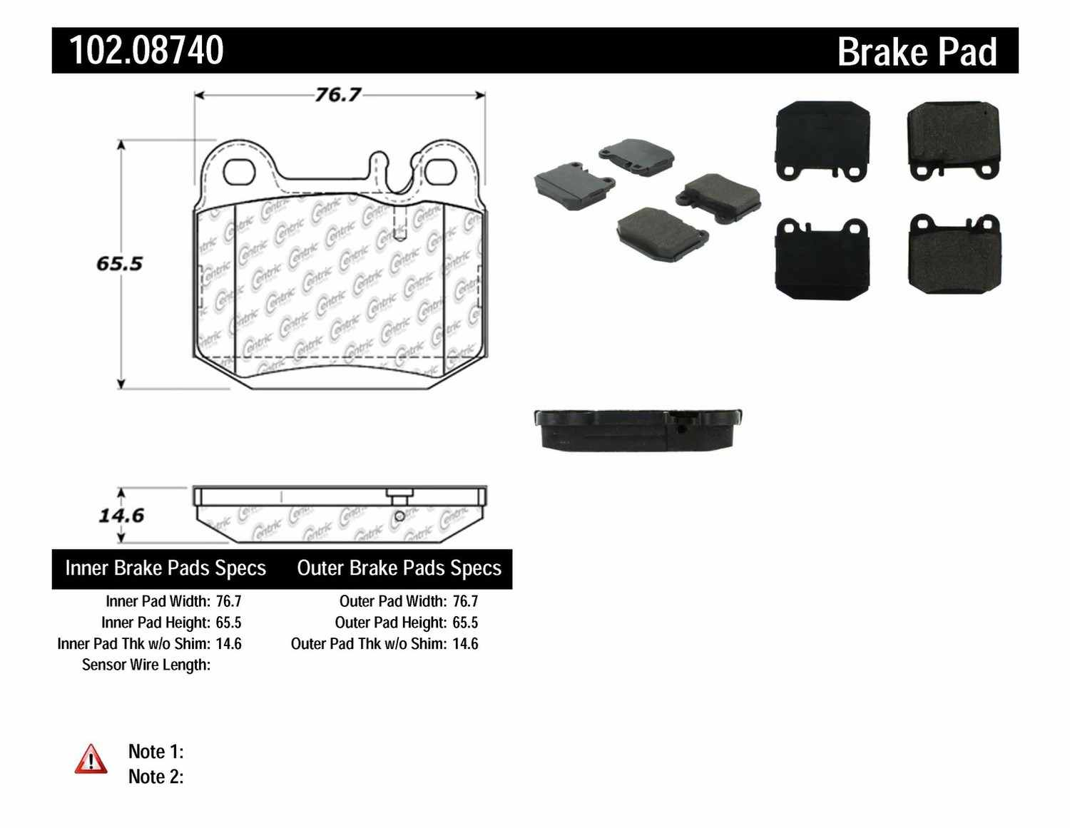 C-TEK BY CENTRIC - C-TEK Metallic Brake Pads (Rear) - CTK 102.08740
