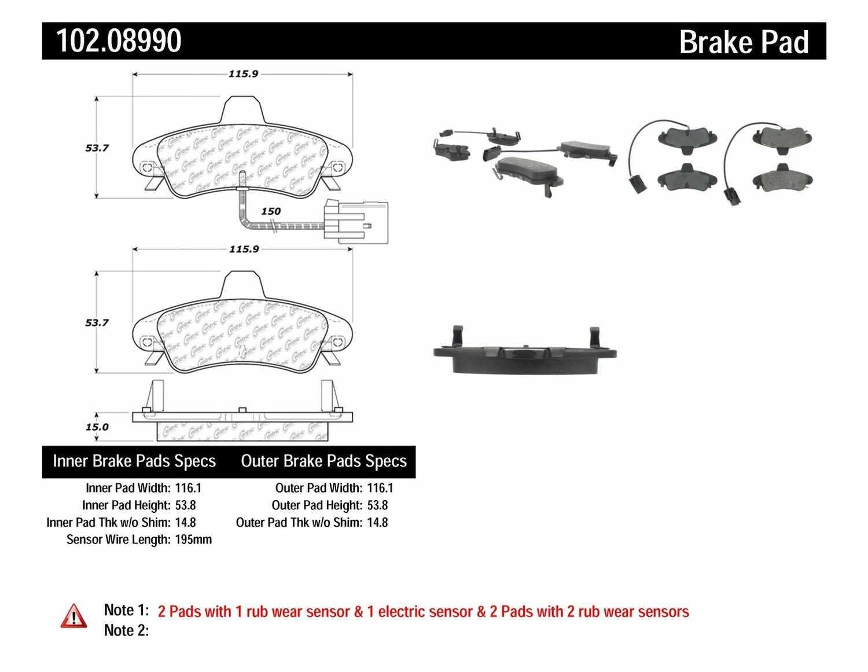 C-TEK BY CENTRIC - C-TEK Metallic Brake Pads (Rear) - CTK 102.08990