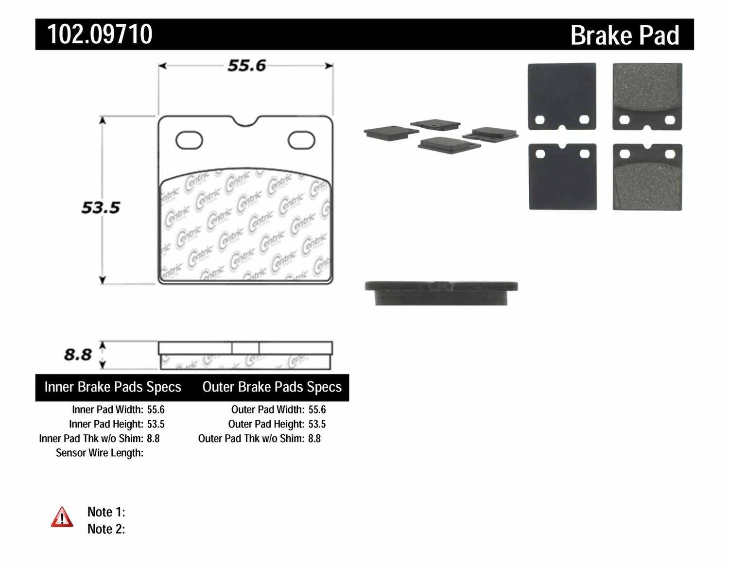 C-TEK BY CENTRIC - C-TEK Metallic Parking Brake Pad Set-Preferred - CTK 102.09710