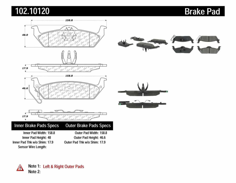 C-TEK BY CENTRIC - C-TEK Metallic Brake Pads (Rear) - CTK 102.10120