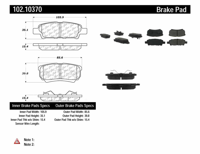 C-TEK BY CENTRIC - C-TEK Semi-Metallic Disc Brake Pad Sets (Rear) - CTK 102.10370