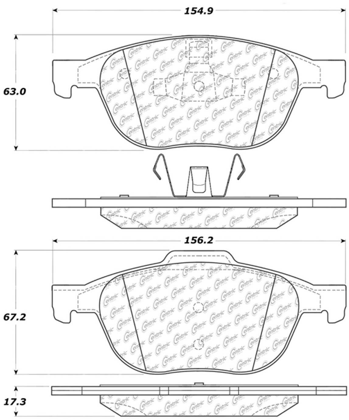 C-TEK BY CENTRIC - C-TEK Metallic Brake Pads (Front) - CTK 102.10440
