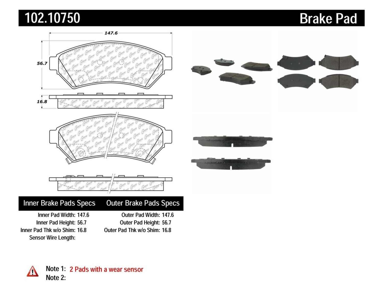 C-TEK BY CENTRIC - C-TEK Metallic Brake Pads - CTK 102.10750