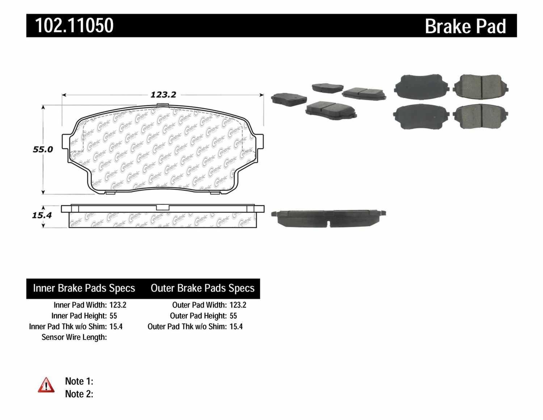 C-TEK BY CENTRIC - C-TEK Metallic Brake Pads (Front) - CTK 102.11050