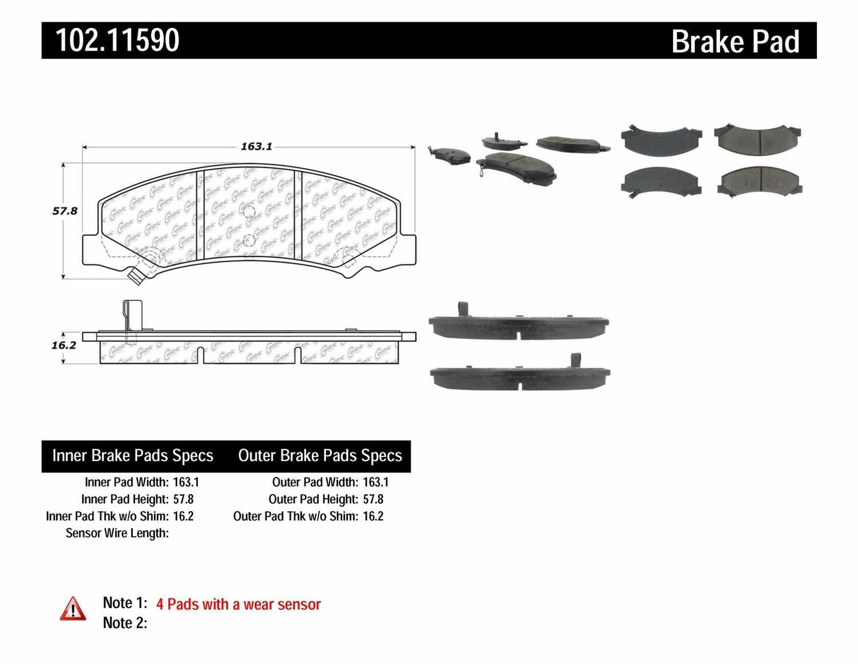 C-TEK BY CENTRIC - C-TEK Semi-Metallic Disc Brake Pad Sets - CTK 102.11590