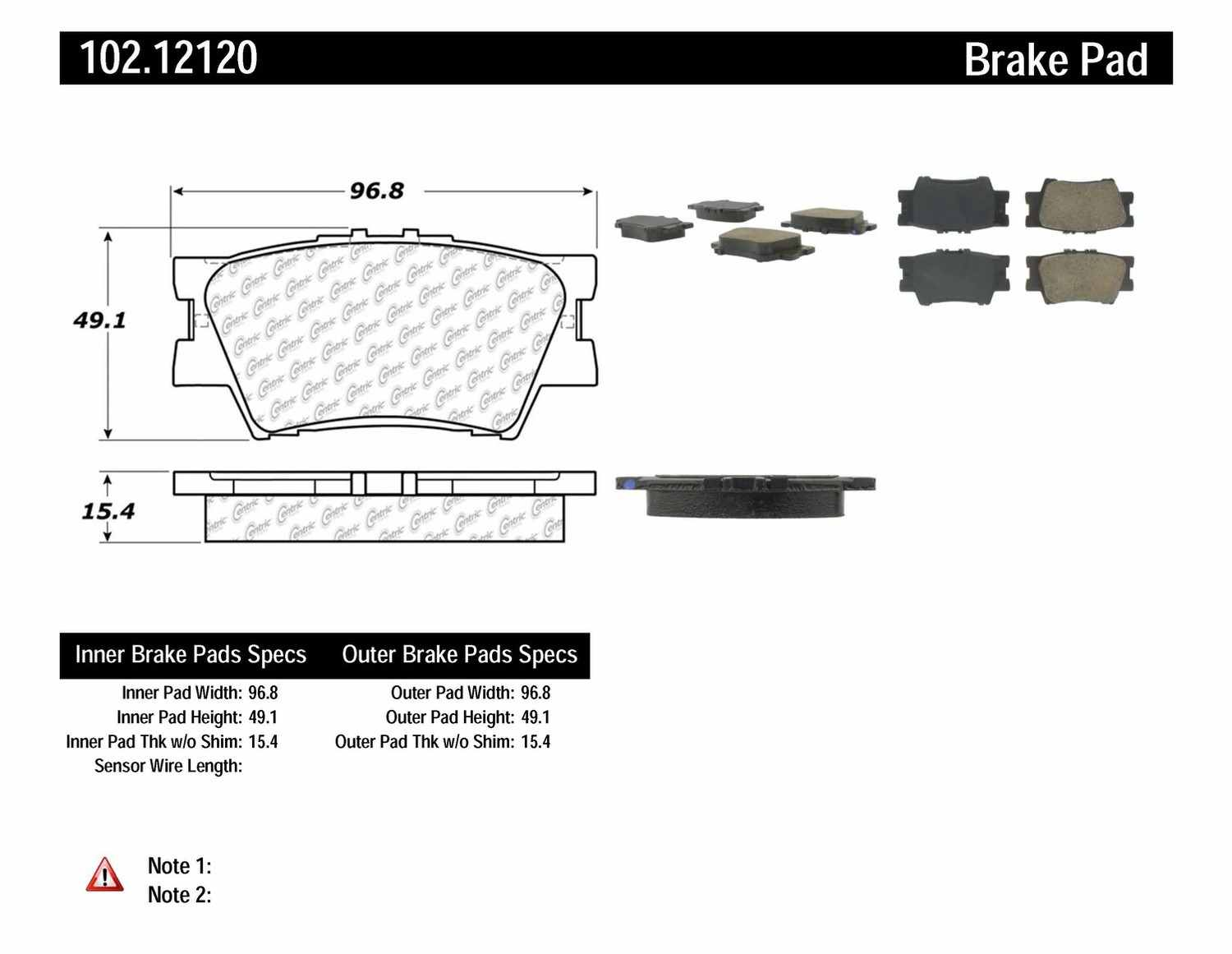 C-TEK BY CENTRIC - C-TEK Metallic Brake Pads (Rear) - CTK 102.12120