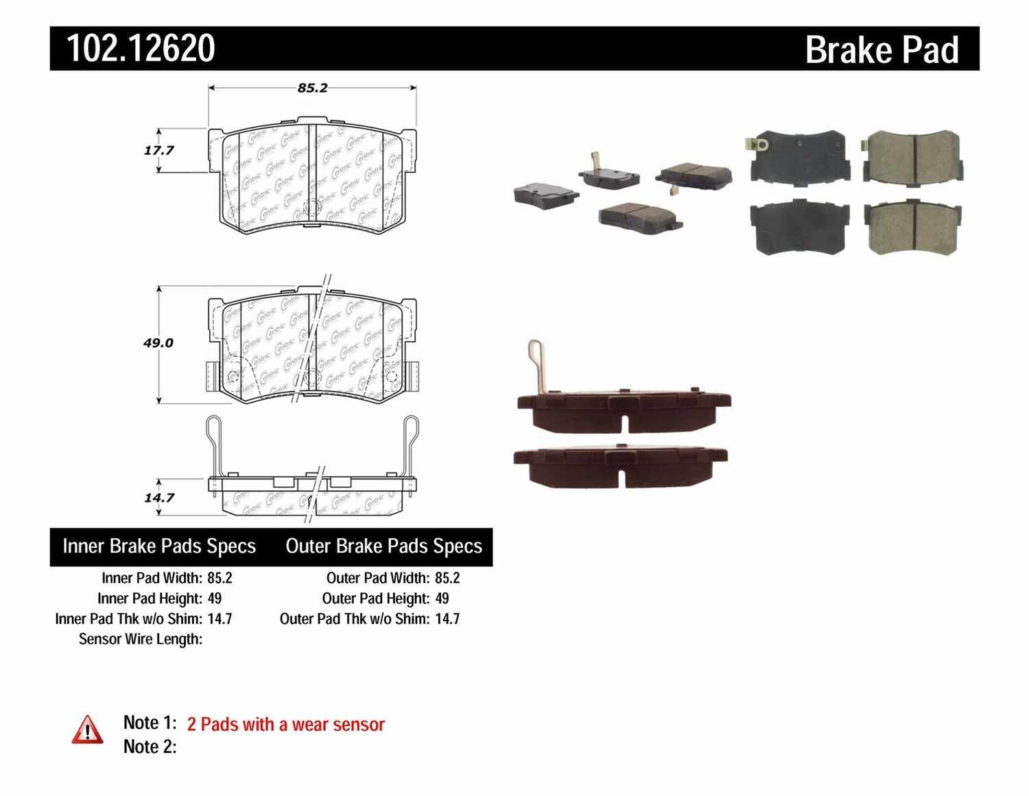 C-TEK BY CENTRIC - C-TEK Metallic Brake Pads (Rear) - CTK 102.12620