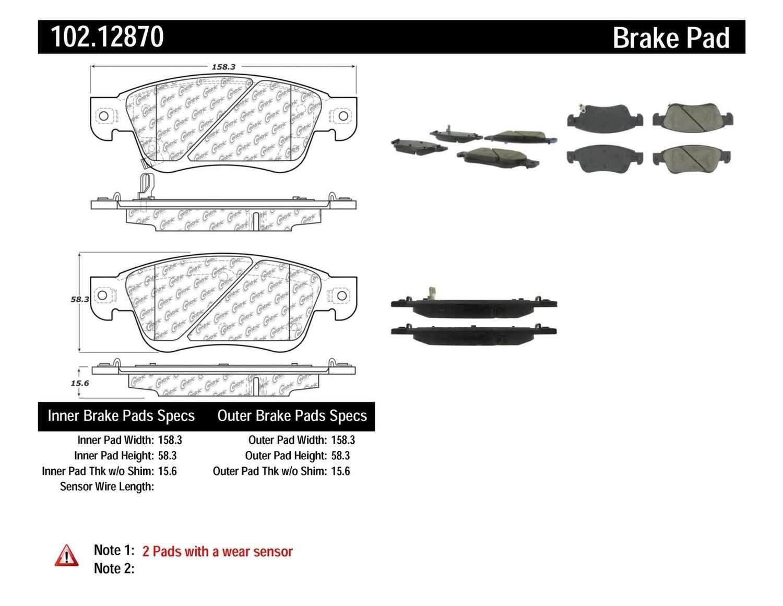 C-TEK BY CENTRIC - C-TEK Semi-Metallic Disc Brake Pad Sets (Front) - CTK 102.12870