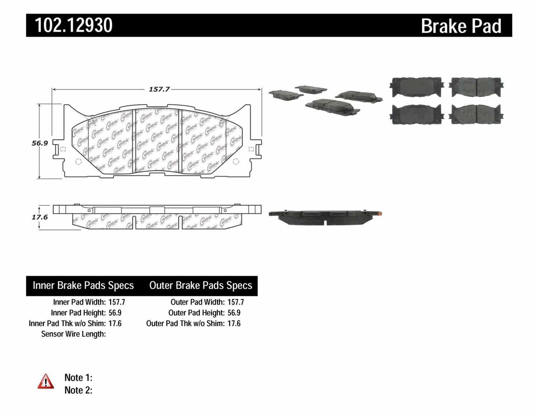 C-TEK BY CENTRIC - C-TEK Metallic Brake Pads (Front) - CTK 102.12930