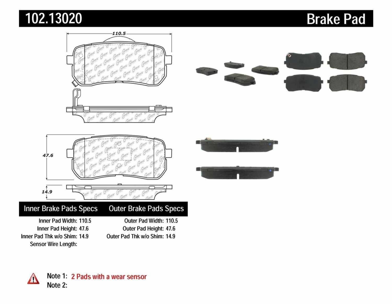 C-TEK BY CENTRIC - C-TEK Semi-Metallic Disc Brake Pad Sets (Rear) - CTK 102.13020