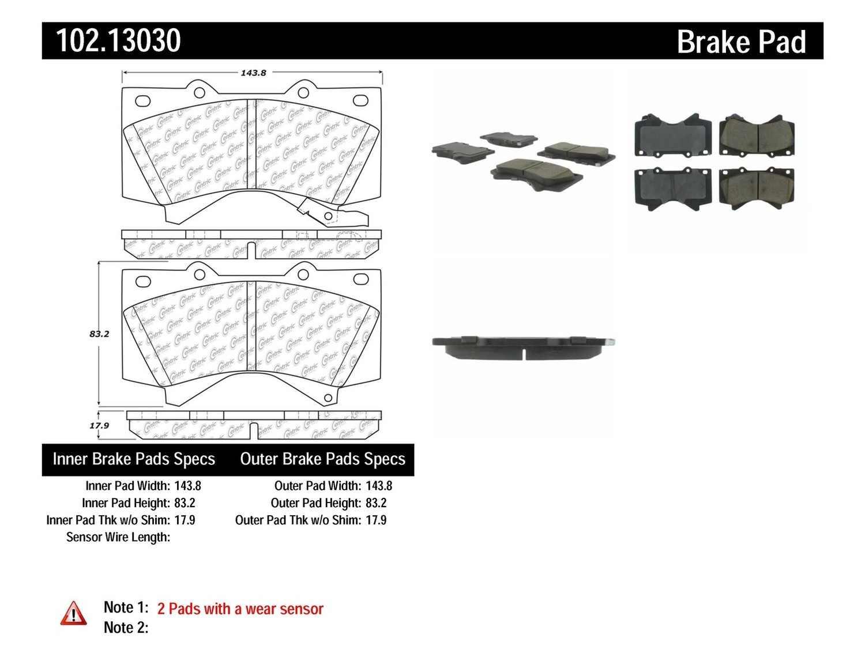 C-TEK BY CENTRIC - C-TEK Semi-Metallic Disc Brake Pad Sets (Front) - CTK 102.13030